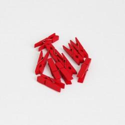 DIY wooden pins 3,5cm 10pcs, red