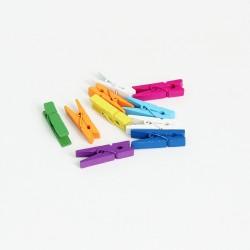 DIY wooden pins 3,5cm 10pcs, mix colors