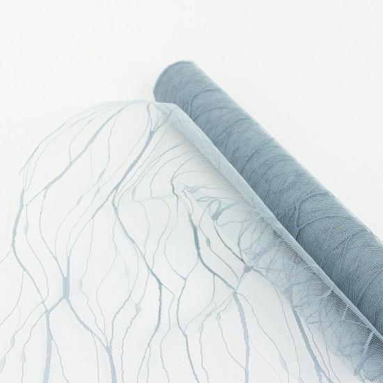Tulle roll 50cm/4,5m, grey-blue