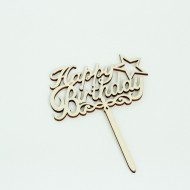 Wooden topper HAPPY BIRTDAY 1pcs